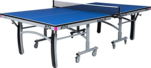 Stag Active 25 Table Tennis Table Top Thickness 25mm with Net Set, Table Cover, 2 Racquets and 6 Balls Features Quick Assembly and Playback Mode