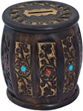 ITOS365 Hand Crafted Wooden Bank Barrel Style Piggy Coin Box for Boys and Girls (Brown, 5-inch)