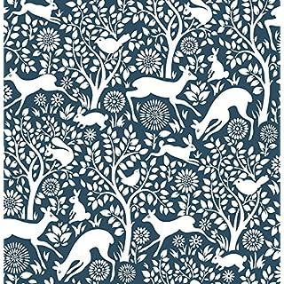 Woodland Meadow Wallpaper A Street Prints Non Woven Navy White Fine Decor