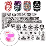 Fameza Salon Designs Nail Art Stamping Templates Scraper Kit with 1 Manicure Plate Set and 1 Polish Stamper (Colour my very)