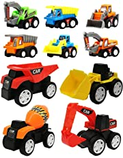 Wishkey 10 Pcs Construction Vehicles Pull Back Toy Cars Playset,Truck Model Kit for Children Toddler Kids Mini Engineering Educational Toys