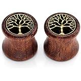 PiercingJ - Orecchini in legno bambù, dilatatori, motivo: albero della vita, unisex, 8-20 mm , 2 pezzi
