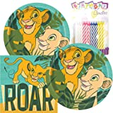 Paquete de fiesta temático The Lion King, incluye platos de papel y servilletas de almuerzo, además de 24 velas de cumpleaños