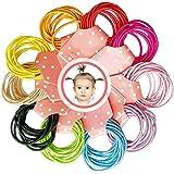 XCOZU 100 piezas de cintas elásticas para el pelo para bebé,10 colores mini gomas para el cabello para coleta de pelo fino pa