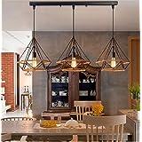 Beautiful KFI Simple Nordic rétro créatif personnalité restaurant bar lustre fer diamant chanvre corde chandel trois, longue