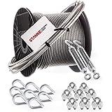 Seilwerk STANKE gegalvaniseerd stalen touw met PVC-coating, 100m staalkabel met diameter 3mm 6x7, 2x romeinse schroef M5 oog-