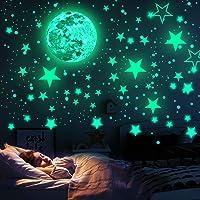 WELLXUNK Luna Decorazione Adesivo, Adesivi Da Parete Fluorescenti, Glow In The Dark Stickers, Stelle Fluorescenti…
