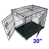 Ellie-Bo Dog Puppy Cage Medium 30 inch Black Folding 2 Door Cage with Non-Chew Metal Tray