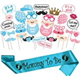 WOBBOX Baby Shower Combo of Photo Booth Party Props and Sash - Combo EG