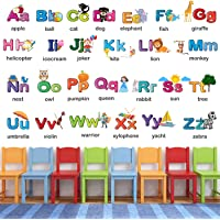 StickMe Alphabets for Kids Learning Education Nursery Pre School Kinder Garden Wall Sticker (PVC Vinyl, 120 X 80 cm, Multicolour)