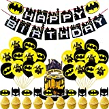 Birthday Party Supplies - Batman Birthday Party Decorations,Batman Theme Happy Birthday Banner,Batman Latex Balloon,Cakecup T