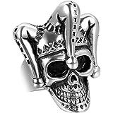 JewelryWe Gioielli Anello da Uomo, Anelli, Gotico Joker Cranio Teschio Clown, Acciaio Inossidabile, Nero Argento (con Borsa R