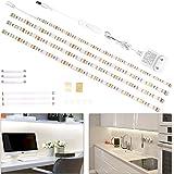 Bande LED de 2 m - Réglette LED de 4 x 50 cm - Avec interrupteur - Blanc froid - Éclairage de cuisine - 1200 lm - 6000 K
