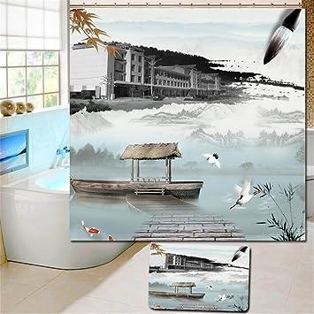 YLSFWSRY Duschvorhänge Vorhang Landschaft Malerei Custom Polyester Dusch  Stoff Bad Wasserdicht Bad Schirme Badezimmer Trennwand , 180*200Cm:  Amazon.de: ... Pictures
