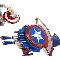 HALO NATION Captain America Shield Shooting Blaster Dart Gun with 10 Soft Foam Darts - 2 in 1 Sheild Bullet Blaster Avengers Toys