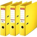 Esselte, N°1 Power, Pack de 3 Classeurs à levier, Jaune, Dos 75mm, A4, PP, 624272