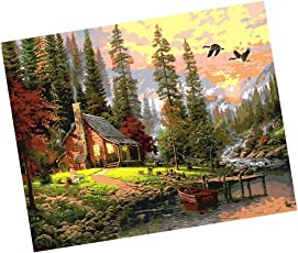 Segolike Unframed Digital DIY Oil Painting Canvas Kit for Adults Kids Drawing Learning Class Craft - hut in the woods, 40*50cm