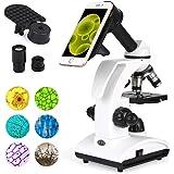 TELMU Microscope Optique 40X à 1000X, Microscope Enfant avec 2 Lampes LED et 5 Filtres de Couleur pour Etudiant Adulte…