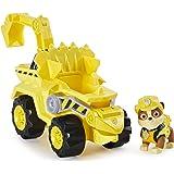 PAW Patrol Dino Rescue Rubble's Deluxe Rev Up Vehículo con Figura de Dinosaurio Misterioso