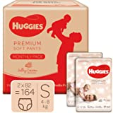 Huggies Premium Soft Pants Monthly pack, Small size diaper pants, 164 Count