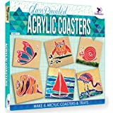 Toykraft: Glass Painted Acrylic Coasters - Art Activity Kit for 8 9 10 Year Olds - Make 6 Coasters