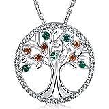 MEGA CREATIVE JEWELRY Collar para Mujer Árbol de la Vida Plata 925 con Cristales Swarovski