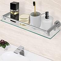 Aquamarin® Étagère pour Salle de Bain - Murale, en Verre Trempé et Aluminium, Largeur 50 cm, Matériel de Montage Inclus…