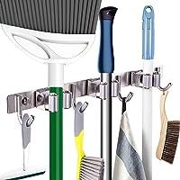 Porte-balais et organisateur en acier inoxydable pour maison, cuisine, garage (3 positions et 4 crochets)