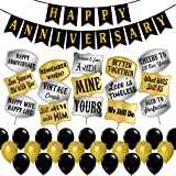 Party Propz Happy Anniversary Decoration Items Kit - 44Pcs With Anniversary Banner, Photo Booth Props, Black & Golden Metalli