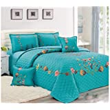 Floral Compressed 4Pcs Comforter Set By Moon, Single Size, Px-004, Turquoise, Microfiber