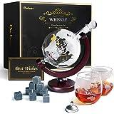 Szklanka do whisky, kulisty karafka do whisky, statek żaglowy, 930 ml z kamieniem lodowym, 2 szklanki do whisky, prezent dla