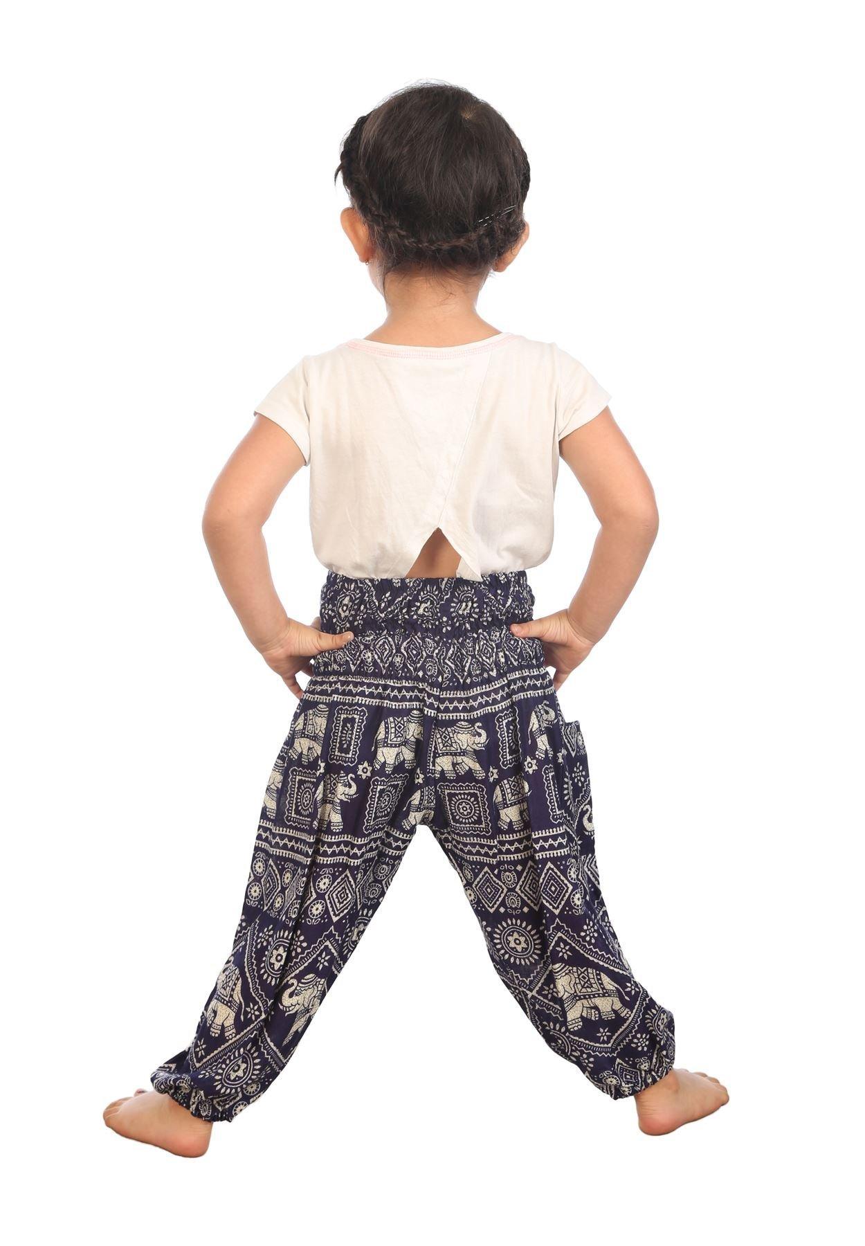 Lofbaz Niños Pantalones Harem de Cintura alforzada Bohemio Aladdin Pantalones 2