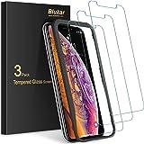 Blukar Skärmskydd för iPhone X/XS, [3-pack] Skärmskydd i Härdat glas för iPhone X/XS med Positioneringsartefakt - 9H Hårdhet,