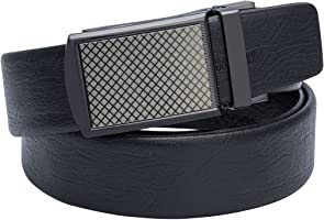 Barry.Wang Designer Belts for Men Leather Strap Black with Sliding Buckle