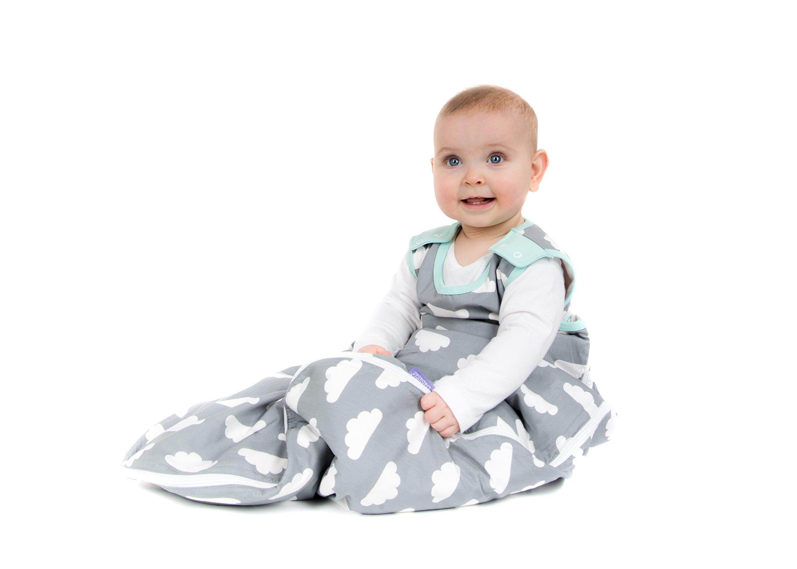 7124pqH73XL - Saco de dormir para bebés de 6 a 18 meses, de la marca Babasac. Diseño de nubes, color gris y turquesa