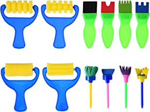 Sumind 12 Stück Schwamm Pinsel Stempel Schwamm Pinsel Frühes Lernen Handwerk Pinsel für Kunst Handwerk DIY