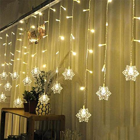 3.5M*0.6M Snowflakes Curtain Lights 8 Modes With 16 Snowflakes 96pcs LED  Linkable Curtain String Lights Christmas/Halloween/Wedding/Party Backdrop  (warm ...
