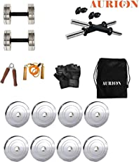 Aurion Chrome Steel Weight Plates Home Gym Pack
