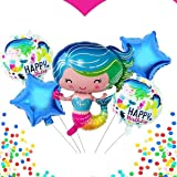 My Party Suppliers Set of 5 Size Mermaid Birthday Balloons Set Party Supplies or Baby Shower Balloons Enchanted Mermaid Party