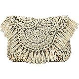 Bolsos de paja de verano Bolsos de hombro de playa con borlas hechas a mano, Mini bolso de mano de vacaciones de ratán tejido