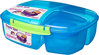 Sistema Lunch Triple Split Lunchbox mit Joghurtbehälter, 2l, blau/grün