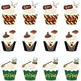 Cupcake Topper de Tarta BETOY 24PCS Wizard Cupcake Topper Cupcake Wrappers Envoltorios de Cupcakes Magdalenas Decoración Part