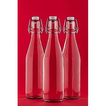 6 leere Glasflaschen mit Bügelverschluss 500ml Saftflaschen 0,5 Liter l 50 cl Likörflasche Bügelverschlussflasche Bügelflasche Schnapsflasche Essig-ÖL Flasche von slkfactory