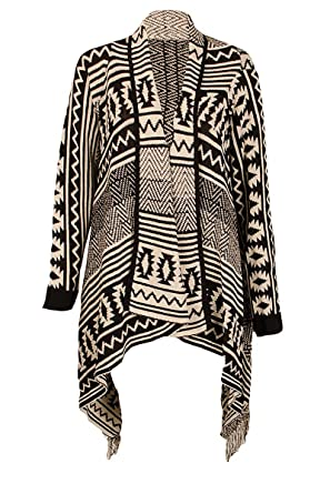 Womens Ladies Wrap Waterfall Aztec Tribal Cardigan Tassle Kimono ...
