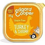 Edgard & Cooper Comida Humeda Gatos Adultos Natural Sin Cereales Esterilizados, Latas 19x85g Pavo y Gambas Frescos, Fácil de