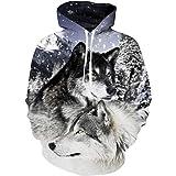 UNIFACO Unisex Felpa Uomo con Cappuccio 3D Stampato Wolf Felpe Donna Divertente Pullover Maniche Lunghe Sweatshirt con Tasche