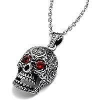 Feilok - Catenina con ciondolo a forma di teschio in acciaio inox, da uomo, stile gotico, con occhi di cristallo rosso…