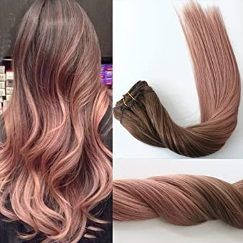 Silky straight rose gold ombre highlights balayage hair extensions silky straight rose gold ombre highlights balayage hair extensions of clip in extension medium brown fading pmusecretfo Gallery