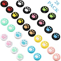 28 Pieces Replacement Cute Cat Claw Design Thumb Grip Caps Thumb Grips Analog Stick Cover Joystick Cap Soft Silicone…