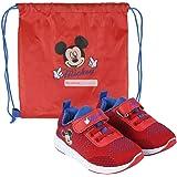 Disney Mickey Mouse - Zapatillas deportivas para niños, diseño ligero, cierre de velcro, regalo para niños, talla 4 a 9,5
